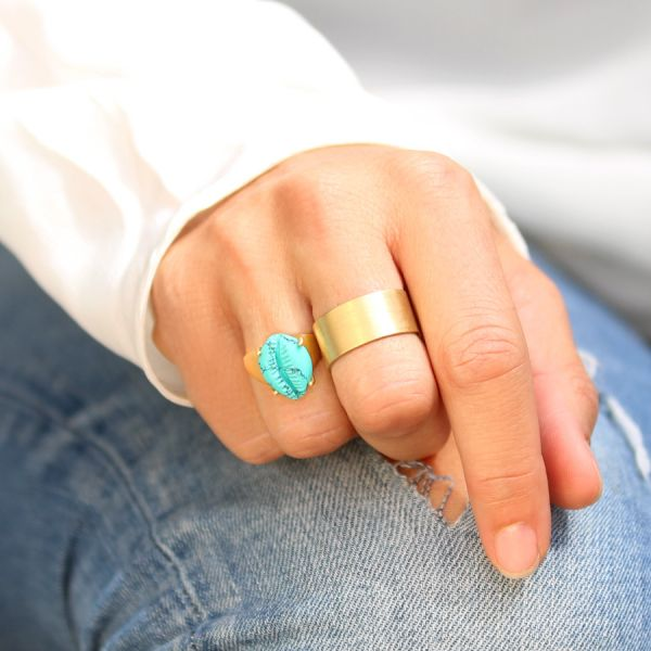 Bague coquillage turquoise