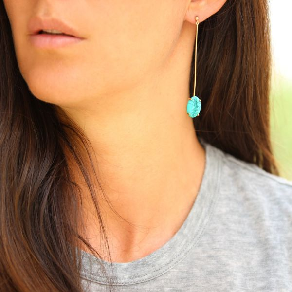 Boucle d'oreille coquillage Turquoise