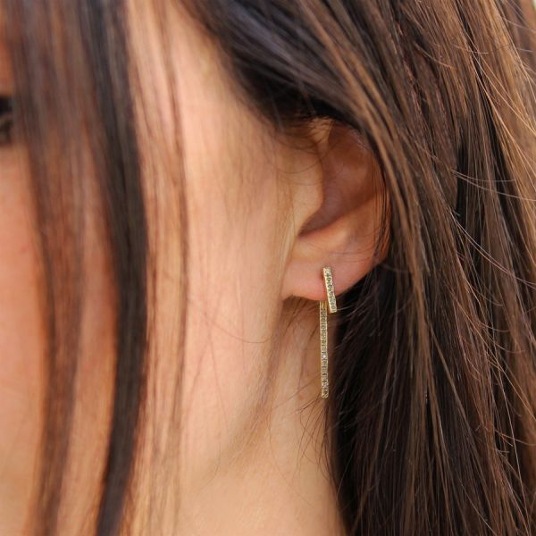 Boucle d'oreille double diamants