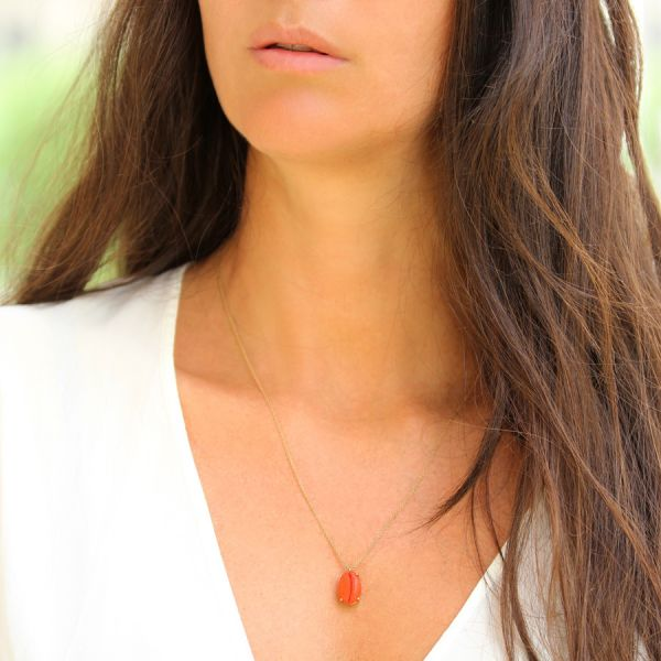 Collier Coquillage Corail