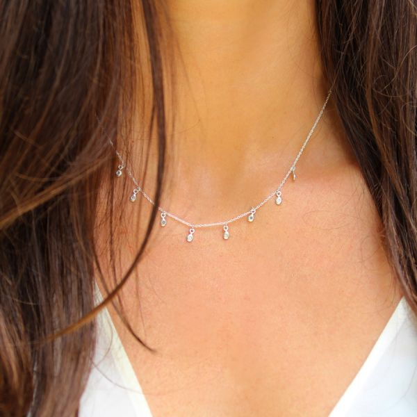 Collier diamants goutte argent