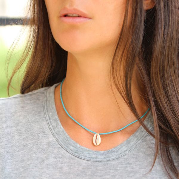 Collier turquoise et coquillage