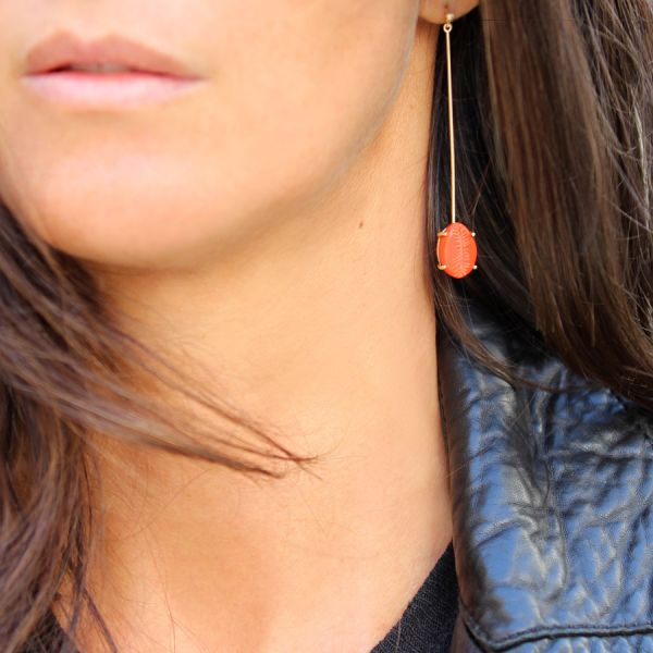 Boucle d'oreille Coquillage Corail